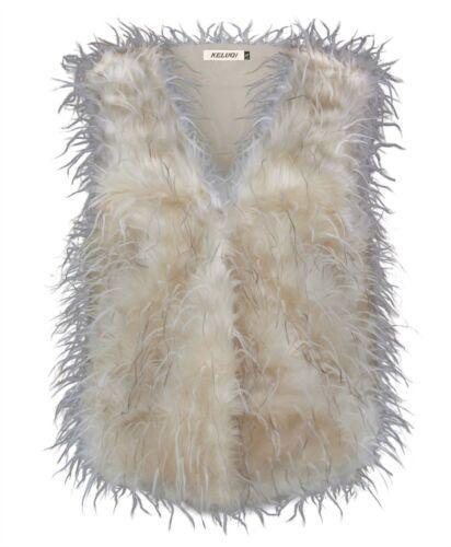 Mesdames fausse fourrure sans manches mesdames gilet de plumes fashion gilet veste taille uk 8-14
