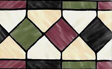 Stained Glass Look Diamonds- Black, Green, Burgundy WALLPAPER BORDER