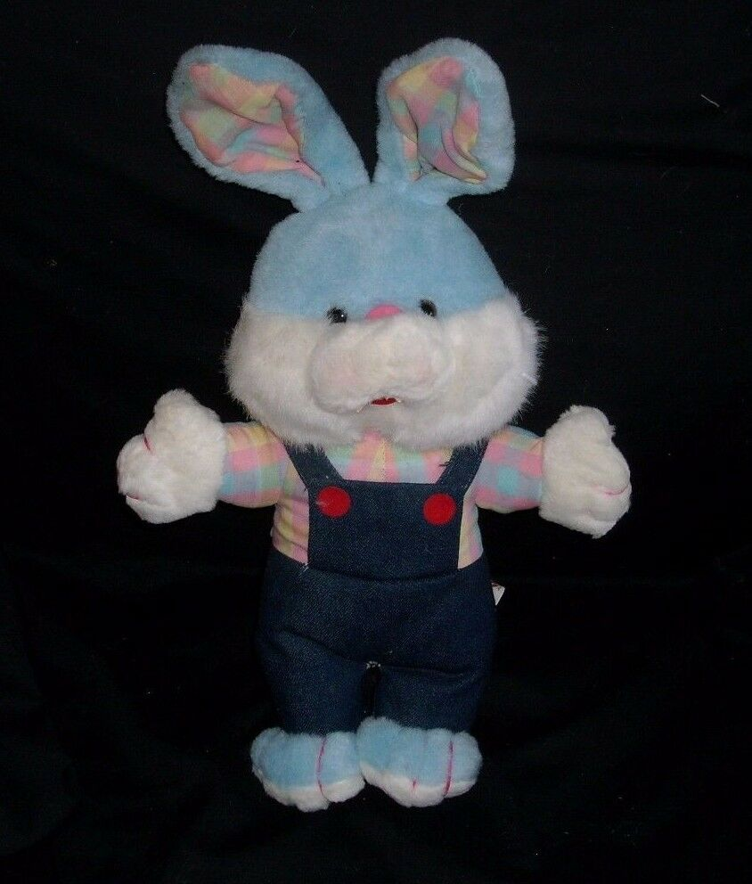 16  1989 VNTAGE ACME BABY blueE BUNNY RABBIT PLAID SHIRT STUFFED ANIMAL PLUSH TOY