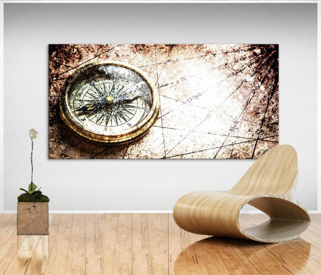 Abstraktes Bild Kompass Welt Leinwand Kunst Bilder Wandbilder Kunstdruck D0510
