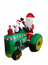 5.3 Foot Christmas Inflatable Santa Claus Drive Tractors Yard Outdoor Decoration