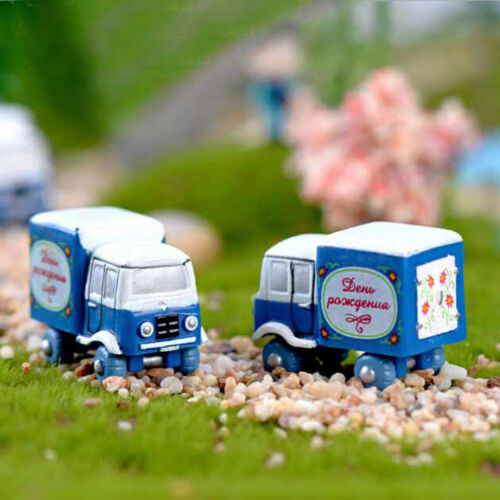 2pcs small truck Miniatures For Fairy Garden Gnomes Moss Terrariums Decor JJUK