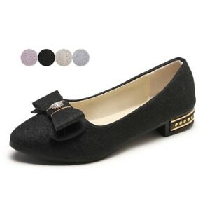 76cf4f641b68 Women Ballet Flats Shiny Loafers Ladies Bow Slip Ons Low Cut Shoes ...