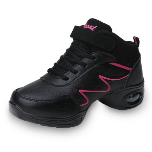 Women Modern Square Dance Shoes Leather Lace Up heighten Athletic Sneakers Jazz