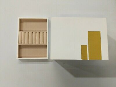 West Elm Luxe Lacquer Box White with Gold Stripes OpenBx ...