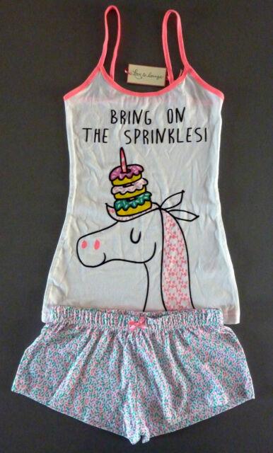 Neu Primark Grumpy Cat Einhorn Damen Schlafanzug / Pyjama