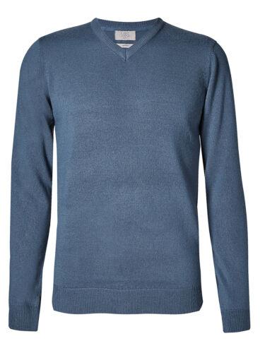 M/&S INDIGO V-Neck Long Sleeve Knitted Jumper