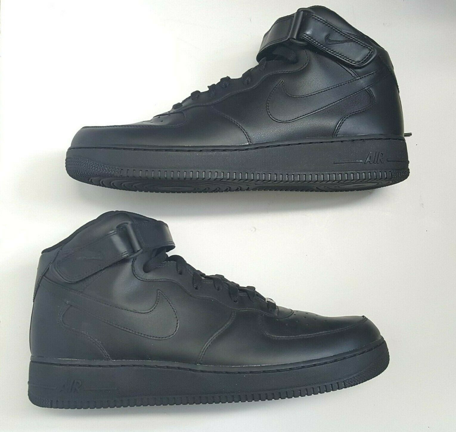 Nike Air Force 1 Mid '07 Mens 315123-001 Black Leather Athletic shoes Size 14