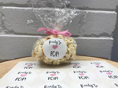 Baby Shower Stickers Ready To Pop Round Stickers For Baby Shower Popcorn Favour Ebay