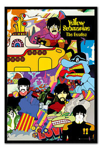 Framed-The-Beatles-Band-Group-Yellow-Submarine-Poster-New