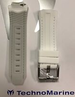 Authentic Technomarine White With Gray Interior Strap Silver Buckle For 45mm