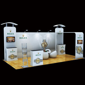 Portable Exhibition Lighting : 20ft portable trade show display system tv mount counters event
