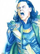 Original Comic book Convention sketch Lot Loki Watercolor, Loki Ink, Cannonball