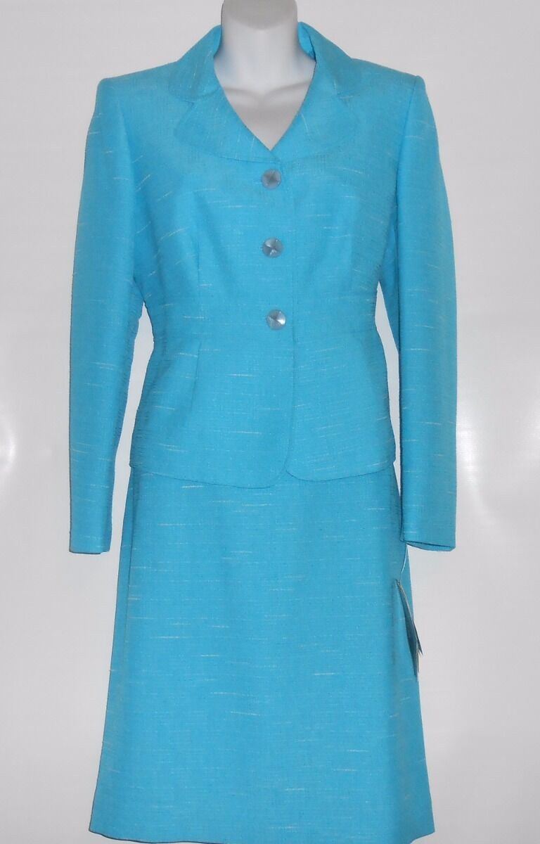 Collections for Le Suit Petite Ladies Two (2) Piece Skirt Suit Aqua 8P NWT