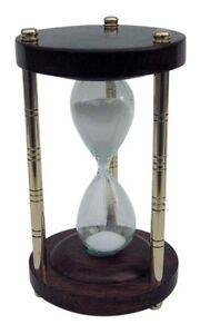 Sanduhr Stundenglas - Messing Holz mit 3 Säulen - 3 Minuten - sc-9176