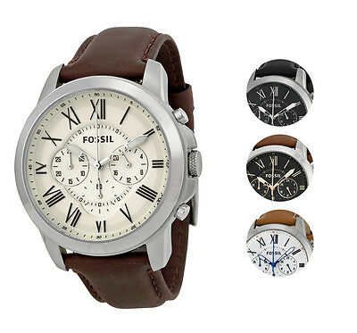 Fossil Grant Chronograph Leather Mens Watch   Multiple Colors