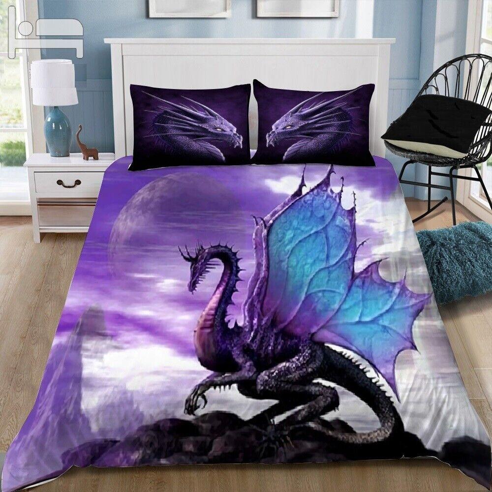 Bettding Set Pillowcase Home Textiles 3D  Dragon Drucken Duvet Startseite Bett NEW 2019