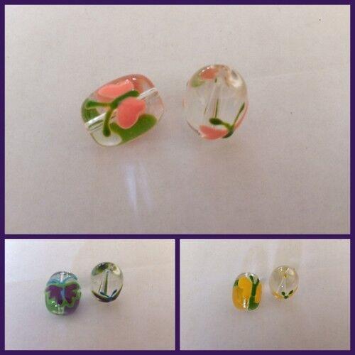 5 perles de tambour de verre de Murano papillon pinceau 17x14mm Jewellery Making