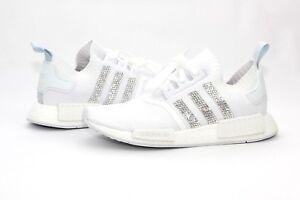 Adidas Custom Bling NMD R1 PK Cloud White Blue Tint Womens Size 8 US ... c7160959e46c