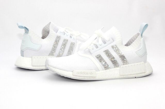 7decc86351e6f Adidas Custom Bling NMD R1 PK Cloud White Blue Tint Womens Size 8 US NIB  CQ2040