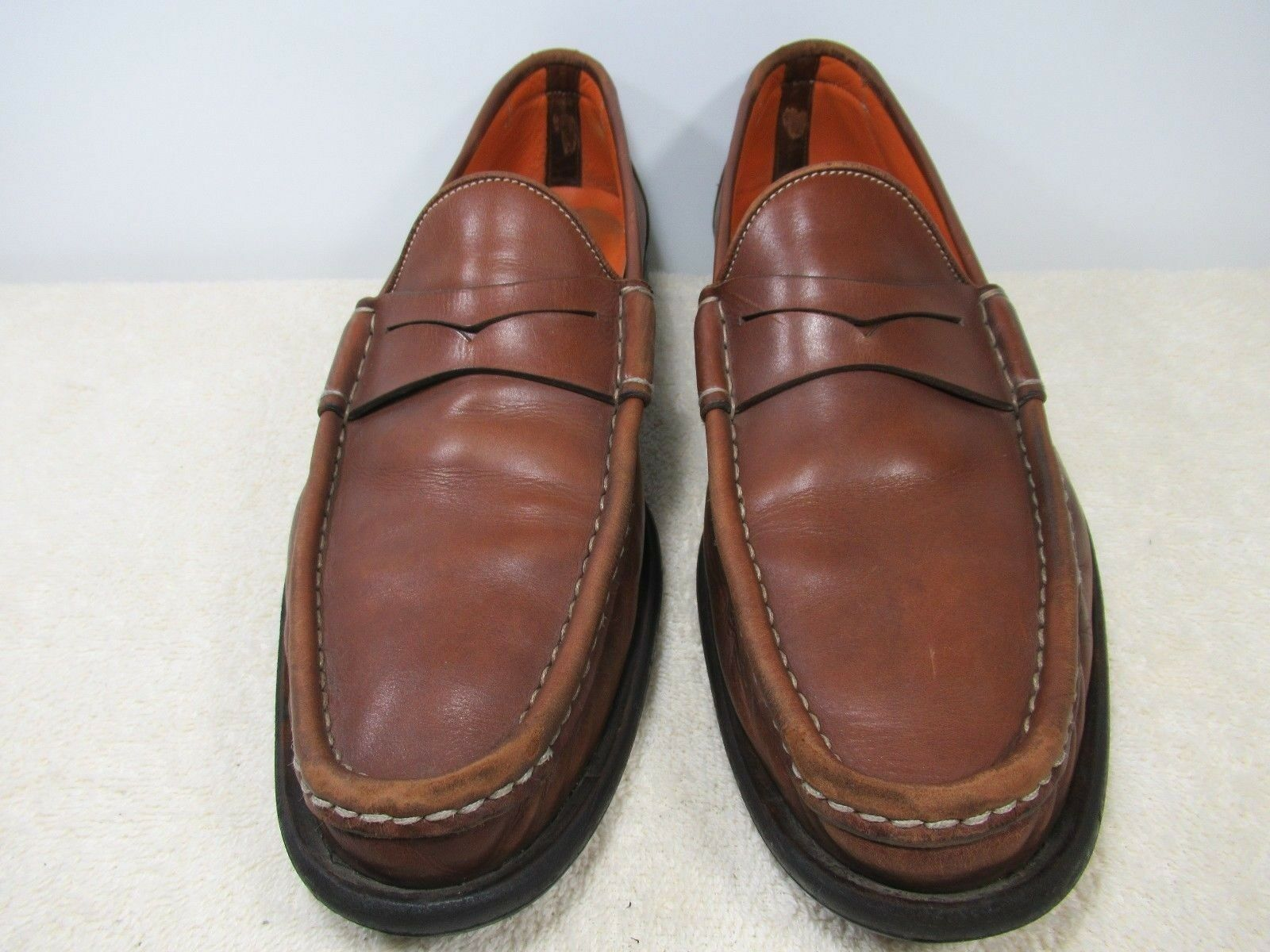 SANTONI BROWN LEATHER UPPER SIZE 9 D MADE IN ITALY