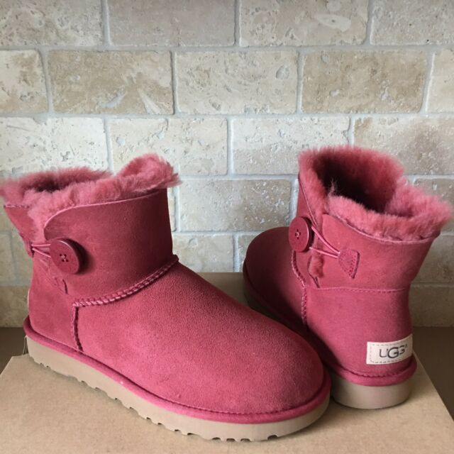 2c98b69d257 UGG Mini Bailey Button II Redwood Suede Boots Size US 9 Womens NEW