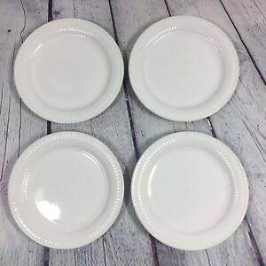 4-Totally-Today-Salad-Plates-White-Embossed-Bars-amp-Dots-7-034-Dinnerware