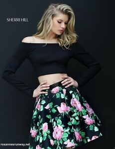 Sherri-Hill-50504-Black-Rose-Print-2-Pc-Crop-Top-Cocktail-Dress-sz-10