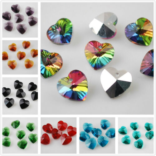 10pcs 14mm Big Heart Shape Faceted Glass Pendants Loose Spacer Bead Findings