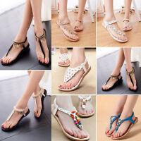 Women Flat Toe Post Shoes Flip on Flops Ladies Boho Thongs Sandals Summer Beach