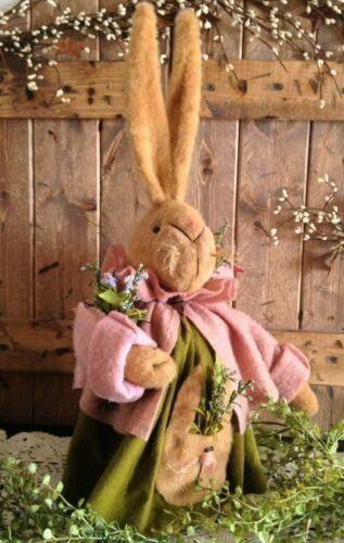 "Details about  /NEW Beautiful Handmade Primitive Vintage Folk Art 20/"" EASTER BUNNY W// Pocket"