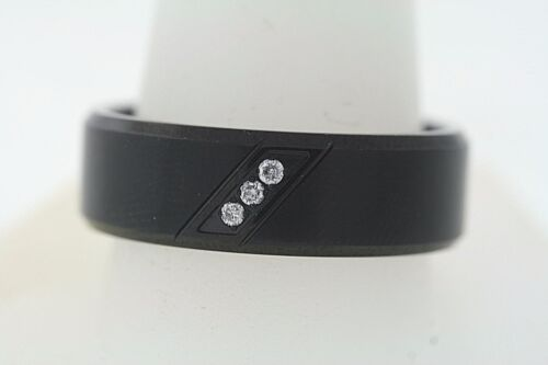 Black Stainless Steel 8mm .06ctw 3 Genuine Diamond Diagonal Beveled Band Ring