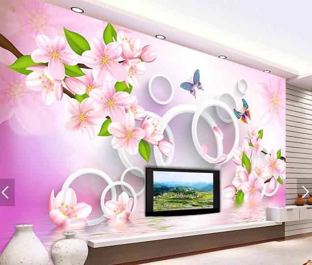 3D Circle Peach 546 Wallpaper Murals Wall Print Wallpaper Mural AJ WALL AU Kyra
