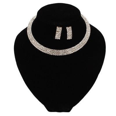 New Fashion Wedding Bride Jewelry 3 Rows Rhinestone Necklace Earrings Set Silver
