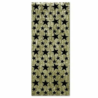 Gold Door Curtain With Black Stars - 2.4 m - Hollywood Foil Party Decoration