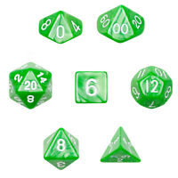 7 Numbered Die Polyhedral Dice Set In Velvet Pouch - Imperial Gem Green