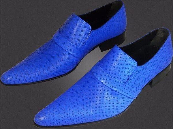 Chelsy - Top Italienischer Designer Slipper Lochmuster blau blau blau handmade Kalbsleder b10317