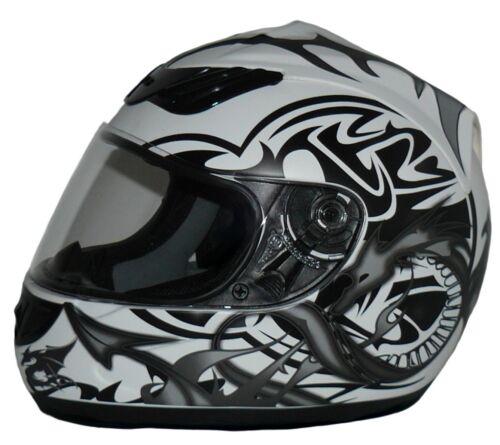 Casque moto Casque intégral en Blanc avec Gris Dragon h510-11-wg Taille S-XL NEUF