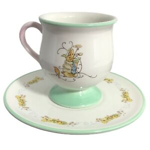 4-034-Potbelly-Teacup-w-Flared-Rim-Footed-Pastel-Pink-Green-amp-6-5-034-Floral-Saucer