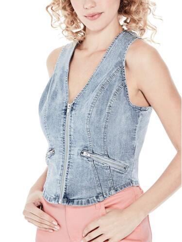 up Womens Light Vest Guess Denim Nieuw Stretch Wash Jas Zip Xs xBawOwqI