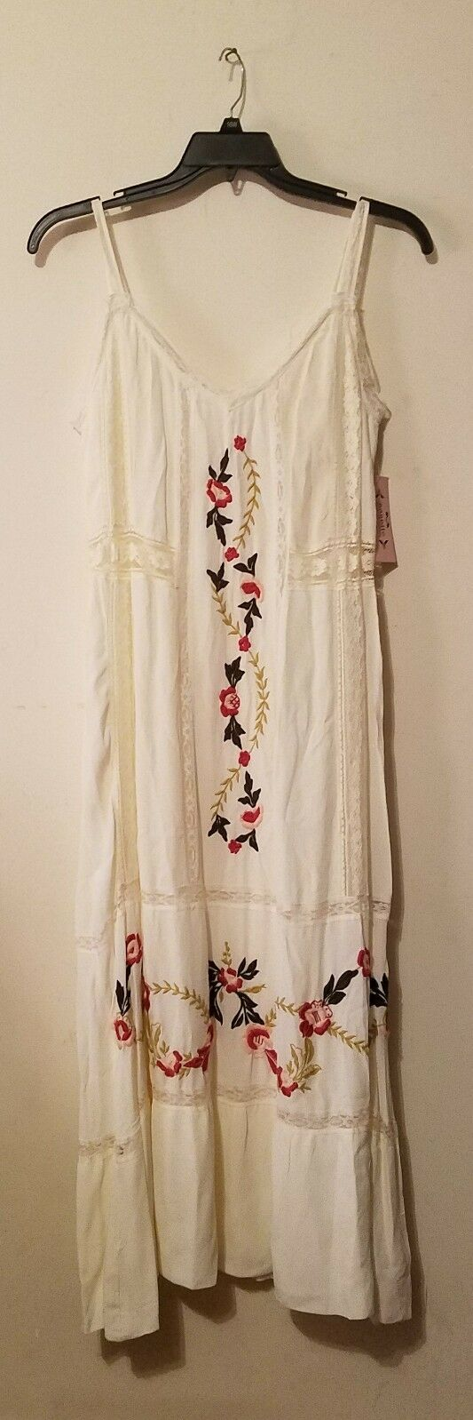 Nanette Nanette Lepore   Embroidered Lace Trim Midi Dress White  Sz 8