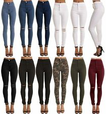 SKINNY HIGH WAISTED JEANS JEGGINGS WOMENS SLIM STRETCHY FULL LENGTH PANTS S