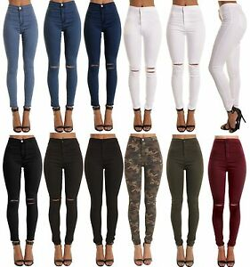 WOMENS-HIGH-WAISTED-STRETCHY-SKINNY-JEANS-LADIES-JEGGINGS-PANTs-8-10-12-14-16-18