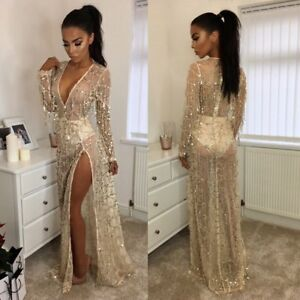 6e0830d9f8fb Women Long Sequins Bridesmaid Formal Prom Gown Ball Party Cocktail ...
