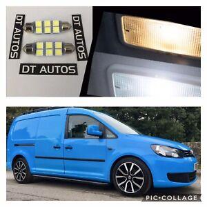 VW-Caddy-Van-trasera-techo-6-LED-Iluminacion-Interior-Kit-X2-brillante-LED-blanca-fria-SET