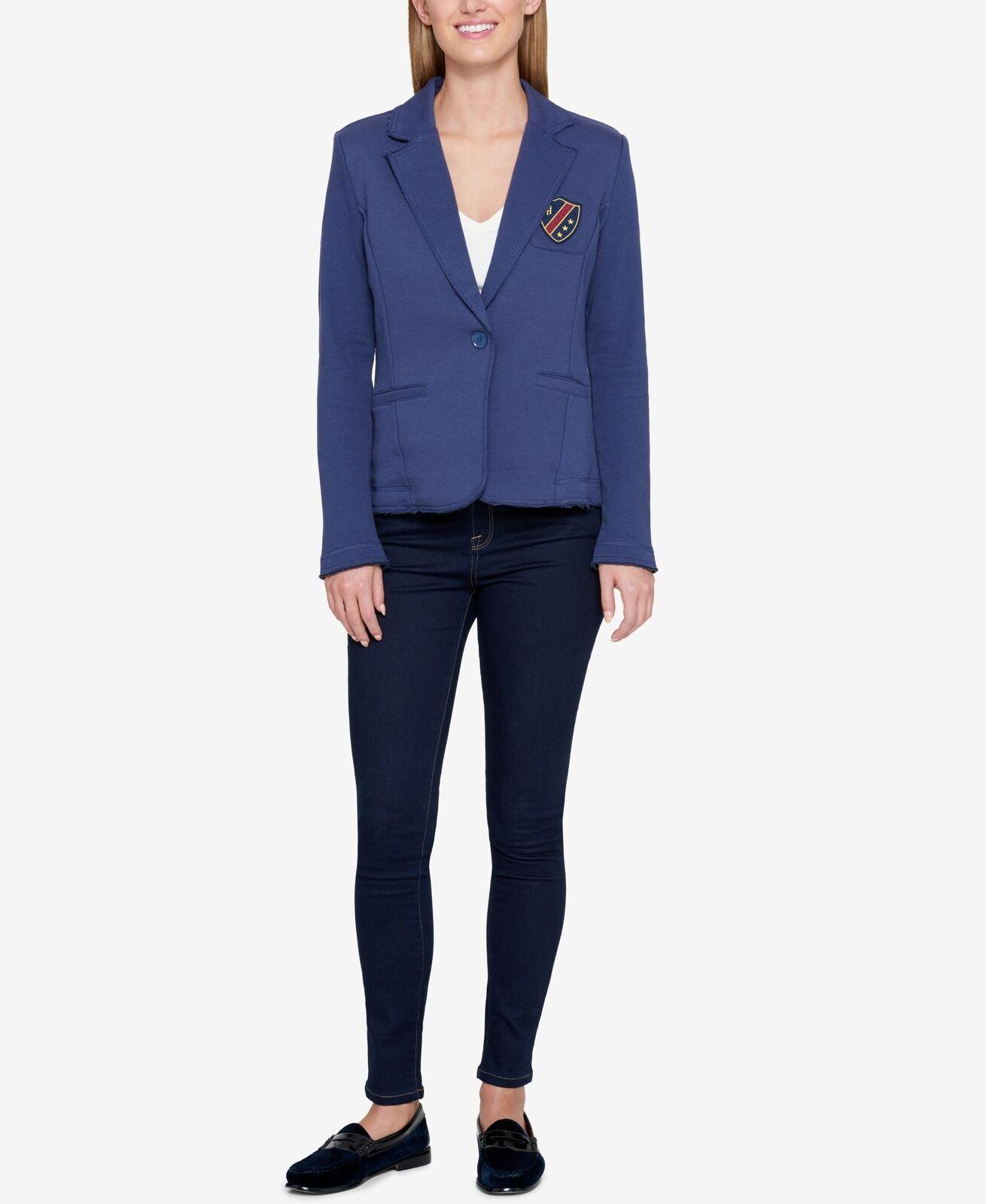 Tommy Hilfiger (MY8-55*) Patched Cotton Blend Knit Jacket Blue Sz XXL
