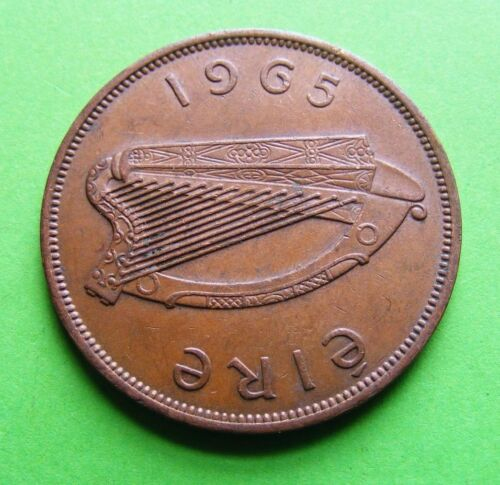 Authentic 1965 Irish Hen And Chicks One Penny Coin Ireland Eire Harp Lucky