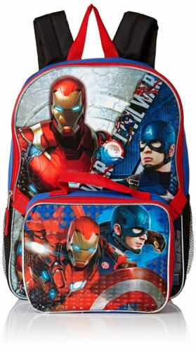 Ironman Backpack with Lunch Box Combo Set Marvel Boys/' Civil War Captain Vs