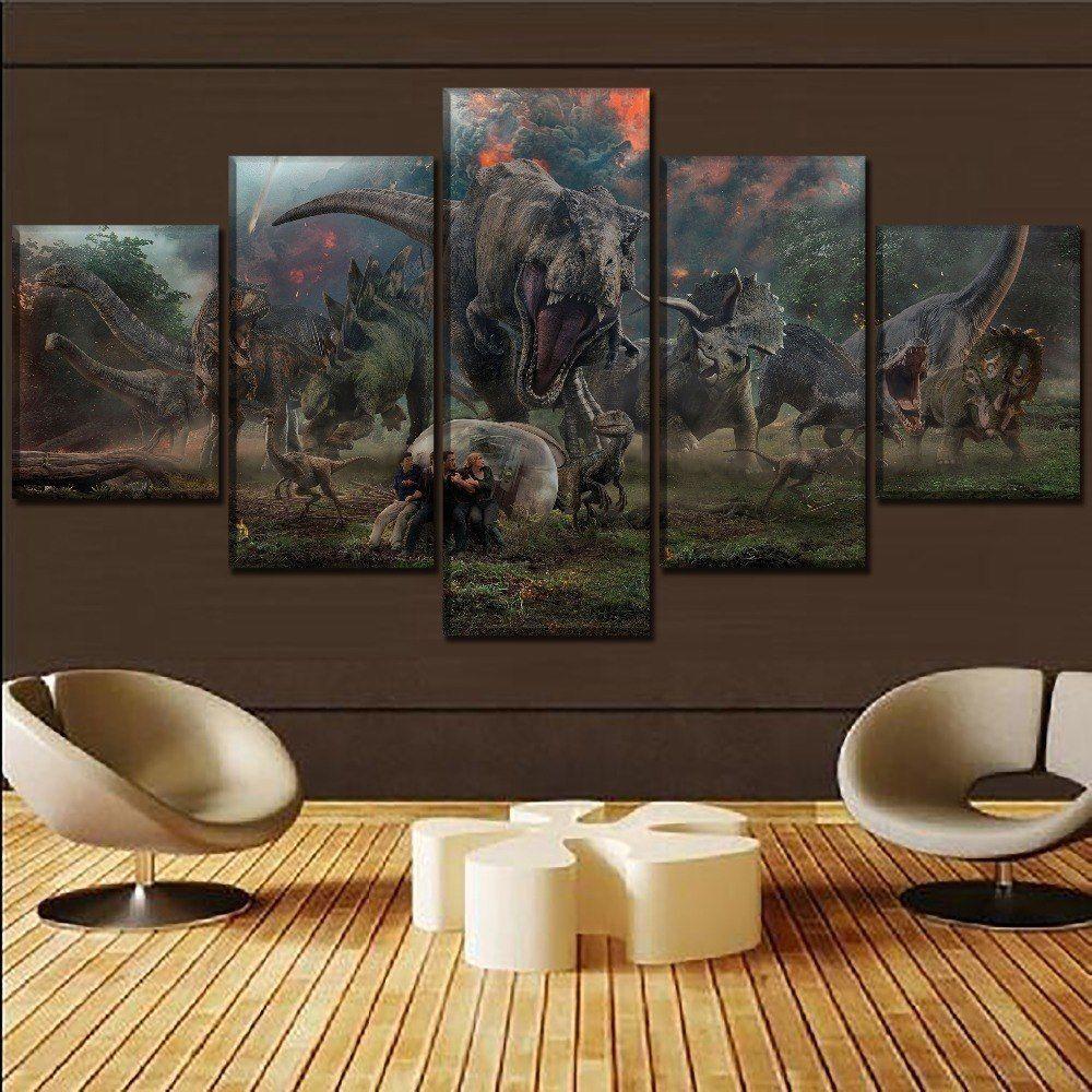 Jurassic World Dinosaurs Framed Canvas Five Piece Wall Art 5 Panel Home Decor