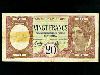 Coins & Paper Money New Caledonia:p-37b,20 Francs,1929 French Rule *